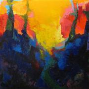 Abstract art,Landscape art,Non-representational art,oil painting,Backyard Sunset
