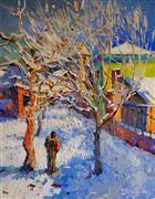 Architecture art,Impressionism art,Landscape art,Representational art,oil painting,Crisp Winter Day
