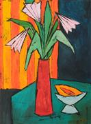 Expressionism art,Still Life art,Flora art,Representational art,acrylic painting,Red Vase