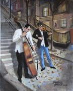 Impressionism art,People art,Representational art,acrylic painting,The Musicians of Montmartre