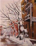 Architecture art,Impressionism art,Landscape art,Representational art,oil painting,Down Horatio St