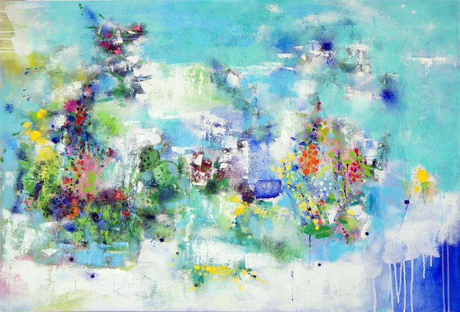 Original art for sale at UGallery.com | GBR Seabed by CHANGSOON OH | $3,725 |  | 36' h x 48' w | ..\art\mixed-media-artwork-GBR-Seabed