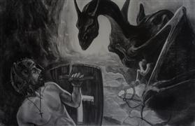 Fantasy art,People art,Religion art,Representational art,charcoal drawing,Saint George and the Dragon