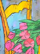 Expressionism art,Still Life art,Flora art,Representational art,acrylic painting,The Flowers on the Chair