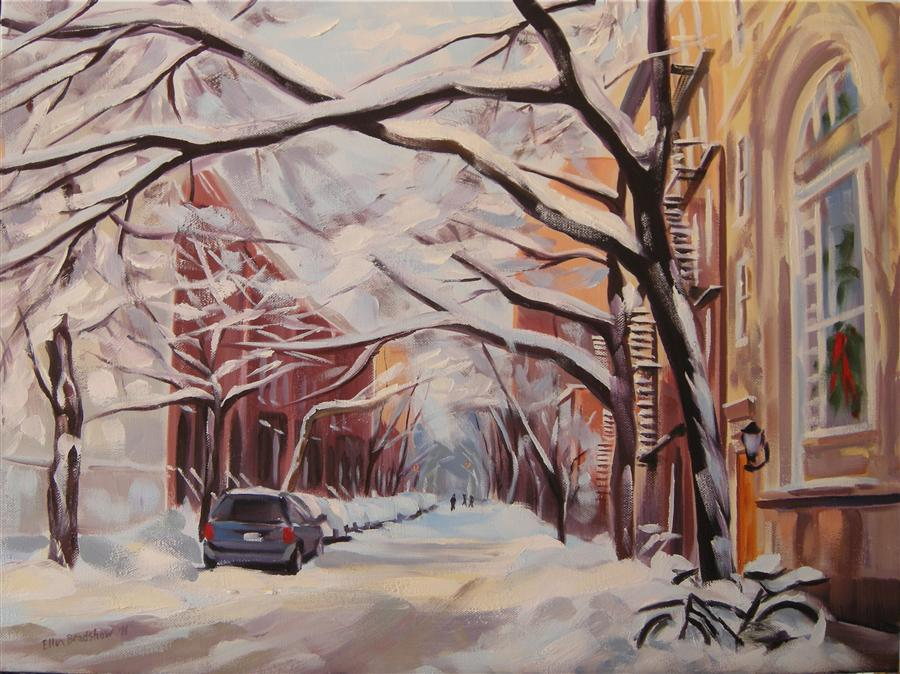 Original art for sale at UGallery.com | Christmas Snow, Jane St by ELLEN BRADSHAW | $2,875 |  | 18' h x 24' w | ..\art\oil-painting-Christmas-Snow-Jane-St