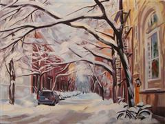 Architecture art,Impressionism art,Representational art,oil painting,Christmas Snow, Jane St