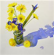 Still Life art,Flora art,Representational art,Vintage art,watercolor painting,Daisies and Irises