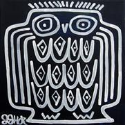 Animals art,Representational art,Primitive art,acrylic painting,Owl on Dark Blue