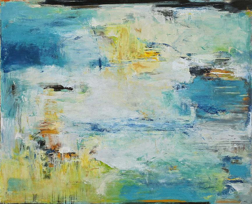 Original art for sale at UGallery.com | Like Water on Stone by LISA MANES-JAMES | $4,525 |  | 48' h x 60' w | ..\art\oil-painting-Like-Water-on-Stone
