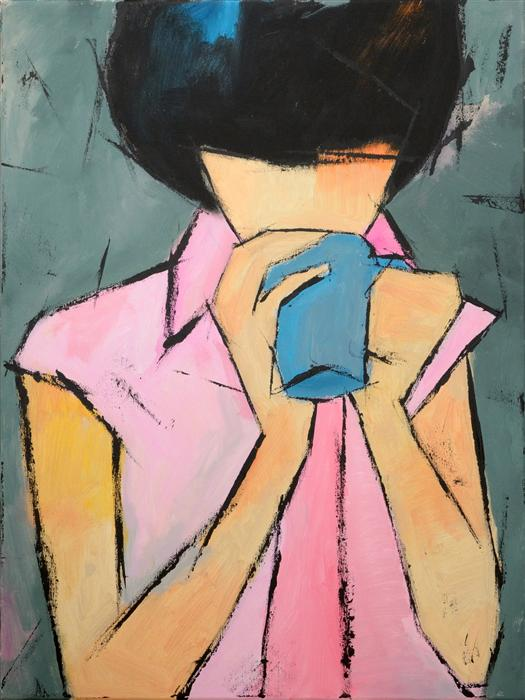 Original art for sale at UGallery.com | Blue Cup by TANYA GRABKOVA | $1,025 |  | 24' h x 18' w | ..\art\acrylic-painting-Blue-Cup
