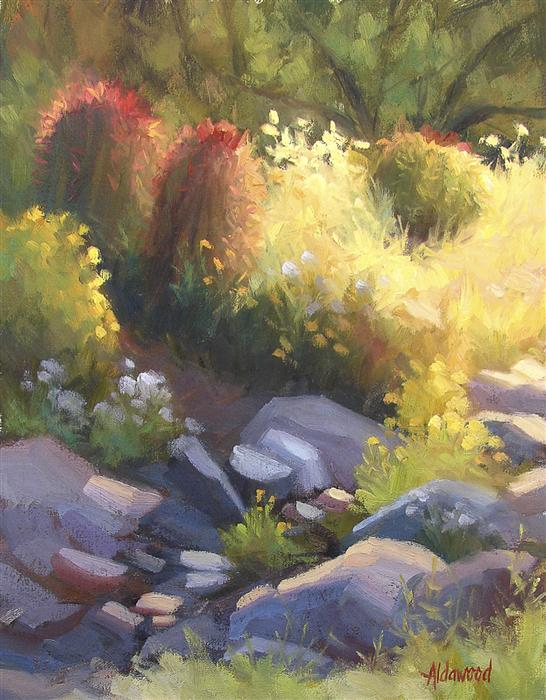 Original art for sale at UGallery.com | Glowing Garden by SHERRI ALDAWOOD | $400 | Oil painting | 14' h x 11' w | ..\art\oil-painting-Glowing-Garden