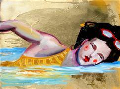 People art,Pop art,Surrealism art,Representational art,mixed media artwork,Golden Sky Peaceful Swim