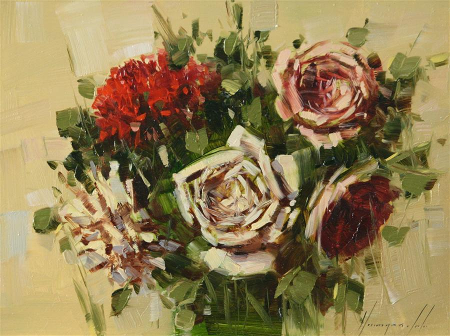 Original art for sale at UGallery.com | Bouquet of Roses by VAHE YEREMYAN | $450 | Oil painting | 9' h x 12' w | ..\art\oil-painting-Bouquet-of-Roses