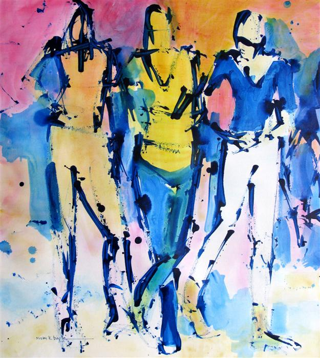 Original art for sale at UGallery.com | Line Dancing by SUSAN K BOYLE | $550 |  | 22' h x 20' w | ..\art\acrylic-painting-Line-Dancing