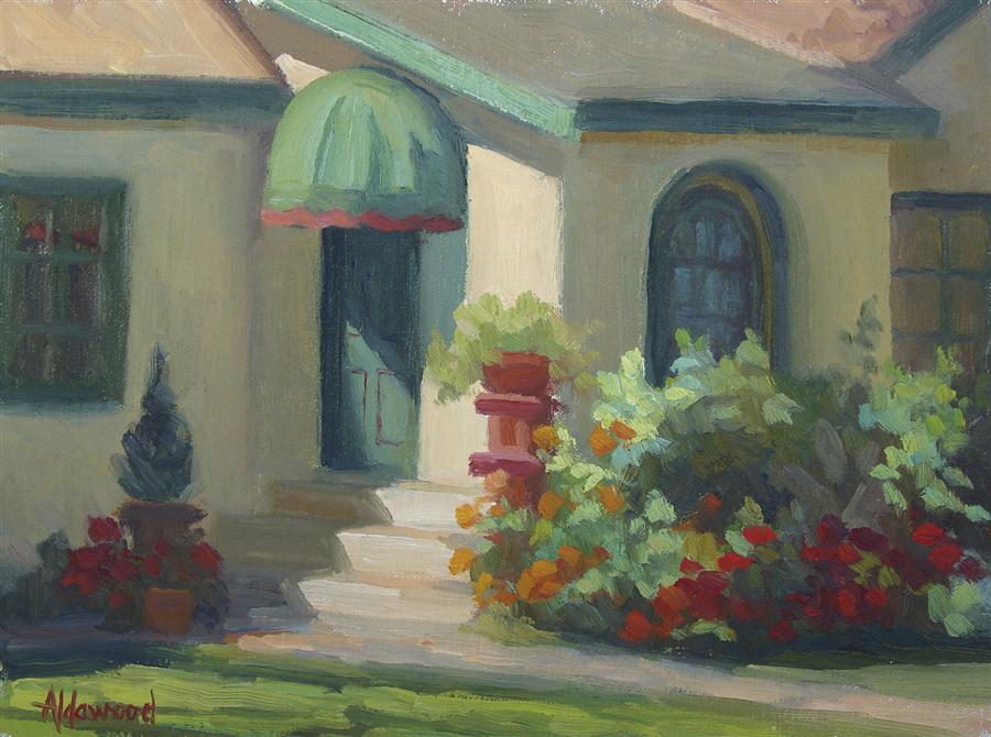 Original art for sale at UGallery.com | Green Door in Morning Light by SHERRI ALDAWOOD | $375 |  | 9' h x 12' w | ..\art\oil-painting-Green-Door-in-Morning-Light