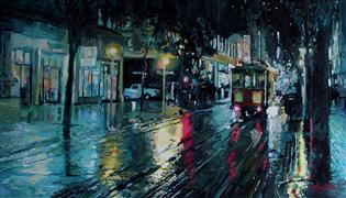 Architecture art,Impressionism art,Landscape art,Classical art,Representational art,acrylic painting,Rainy Night on Powell Street