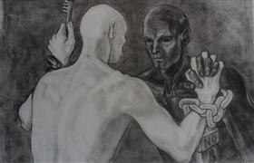 People art,Surrealism art,Representational art,charcoal drawing,Release Me