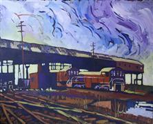 Architecture art,Impressionism art,Landscape art,Representational art,acrylic painting,Railyard