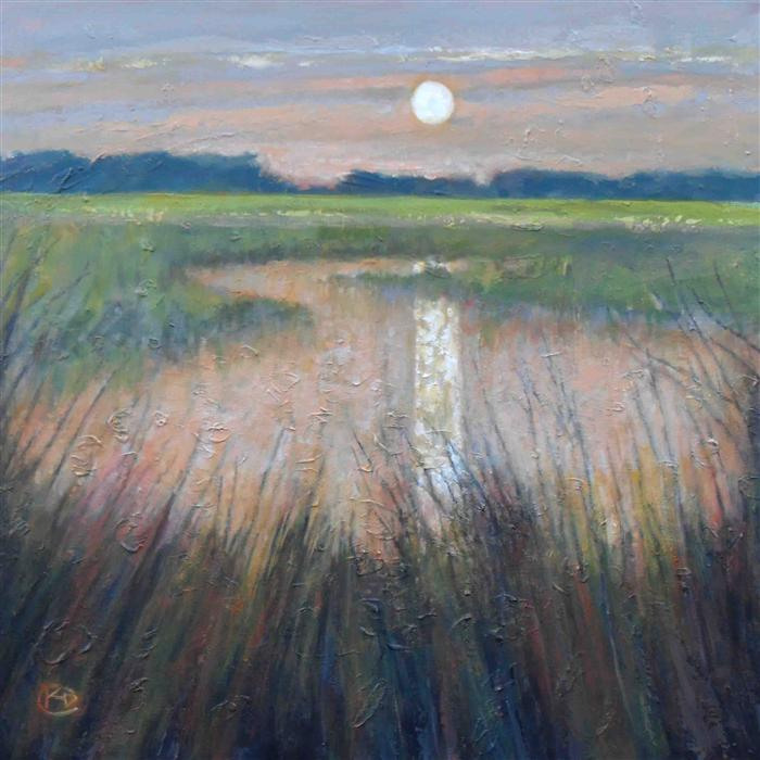 Original art for sale at UGallery.com | Moon over Marsh by KIP DECKER | $2,575 |  | 36' h x 36' w | ..\art\acrylic-painting-Moon-over-Marsh