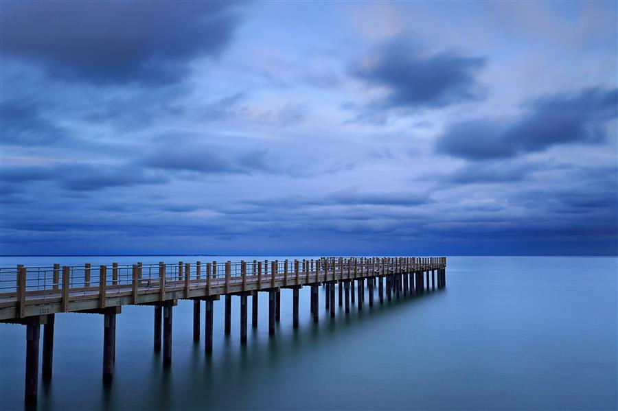 Original art for sale at UGallery.com | Dusk at the Pier by Katherine Gendreau | $365 | photography | 36' h x 24' w | ..\art\photography-Dusk-at-the-Pier