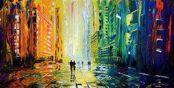 Architecture art,Landscape art,Street Art art,Representational art,acrylic painting,Rainy Square