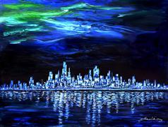 Architecture art,Landscape art,Representational art,oil painting,Rhapsody in Blue