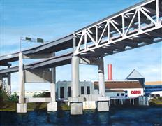 Architecture art,Realism art,Representational art,oil painting,Marquam Bridge