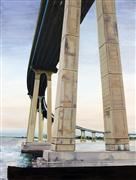 Architecture art,Seascape art,Representational art,oil painting,Coronado Bridge