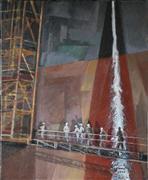 Architecture art,People art,Representational art,acrylic painting,Gangway
