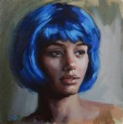 People art,Representational art,oil painting,Blue Hair