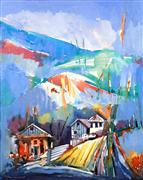 Architecture art,Expressionism art,Representational art,mixed media artwork,Countryside