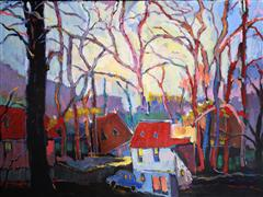 Architecture art,Flora art,Representational art,acrylic painting,Red Roof and Light Blue Car