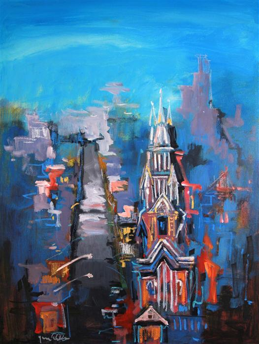 Original art for sale at UGallery.com | Cathedral Beneath a Hill 03 by YUVAK TULADHAR | $1,125 | Acrylic painting | 32' h x 24' w | ..\art\acrylic-painting-Cathedral-Beneath-a-Hill-03