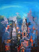 Architecture art,Religion art,Representational art,acrylic painting,Cathedral Beneath a Hill 03