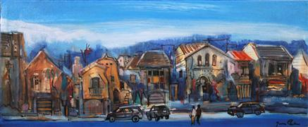 Architecture art,People art,Representational art,acrylic painting,Houses in Marina