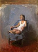 Impressionism art,People art,Representational art,oil painting,Girl in a Blue Chair