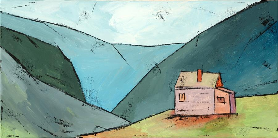 Original art for sale at UGallery.com | House in the Mountains by TANYA GRABKOVA | $550 |  | 10' h x 20' w | ..\art\acrylic-painting-House-in-the-Mountains