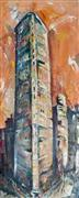 Architecture art,Street Art art,Representational art,oil painting,Manhattan Flatiron Building