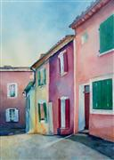 Architecture art,Realism art,Representational art,watercolor painting,Morning in Roussillon