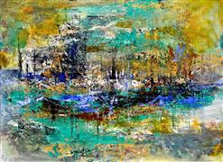 Abstract art,Expressionism art,Non-representational art,acrylic painting,Harbor Bay