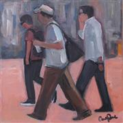 People art,Representational art,Modern  art,acrylic painting,Crossing the Avenue