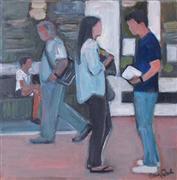 People art,Pop art,Representational art,acrylic painting,Chatting on the Street