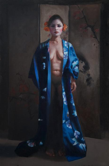 Original art for sale at UGallery.com | Japonaise by JOHN KELLY | $2,500 |  | 36' h x 24' w | ..\art\oil-painting-Japonaise