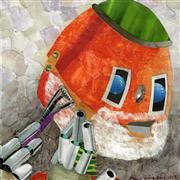 Fantasy art,People art,Representational art,mixed media artwork,Close Shave