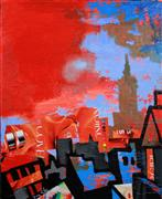 Architecture art,Expressionism art,Representational art,Non-representational art,mixed media artwork,A Tower with Red Back