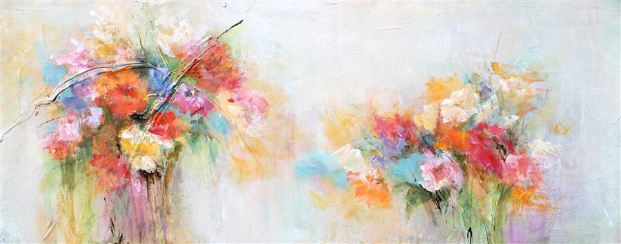 Original art for sale at UGallery.com | A Splash of Spring by Karen Hale | $1,850 | acrylic painting | 16' h x 40' w | ..\art\acrylic-painting-A-Splash-of-Spring