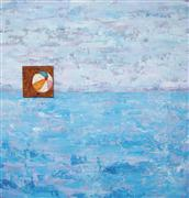 Seascape art,Non-representational art,mixed media artwork,Roll across the Ocean