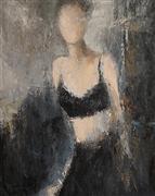 People art,Representational art,oil painting,Night Pause