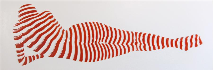 Original art for sale at UGallery.com | Stripe Pose #3 by PHILIPPE JESTIN | $1,525 | Mixed media artwork | 12' h x 36' w | ..\art\mixed-media-artwork-Stripe-Pose-3
