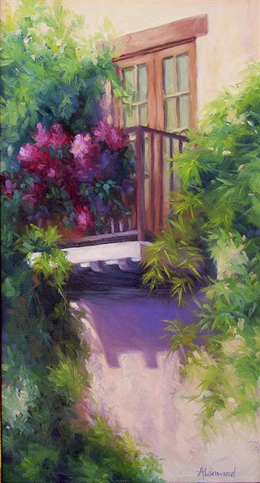 Original art for sale at UGallery.com | Balcony with Bougainvillea by SHERRI ALDAWOOD | $700 |  | 22' h x 12' w | ..\art\oil-painting-Balcony-with-Bougainvillea